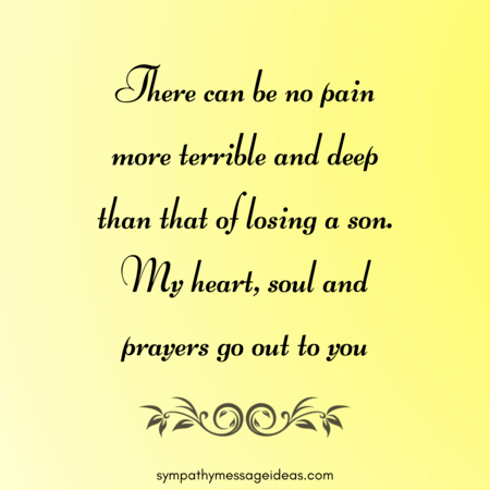sympathy message for loss of son