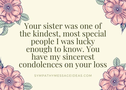 sympathy message for loss of sister