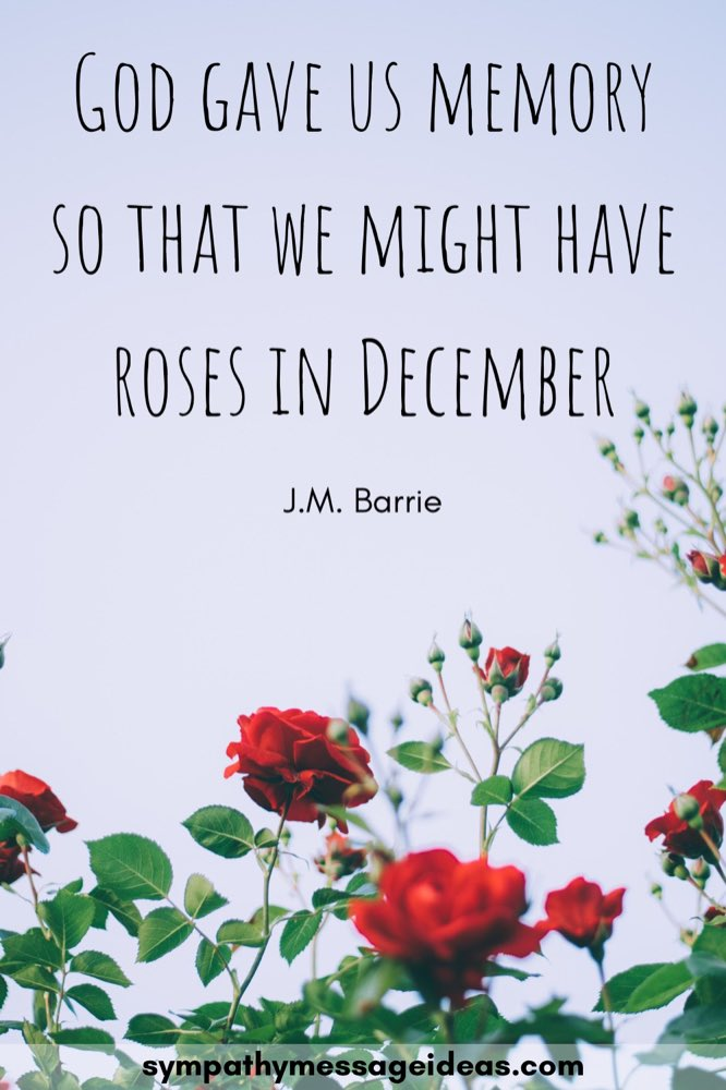 god gave us memory so that we might have roses in December