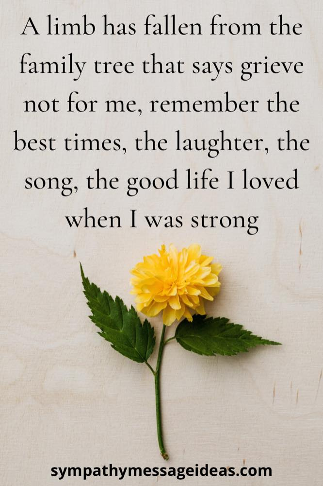 celebration of life quote touching verse