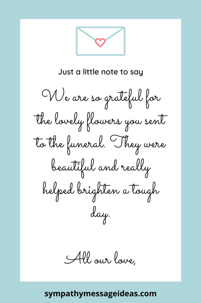 funeral thank you note for flowers