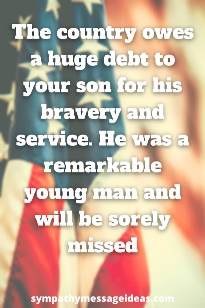 son soldier condolence message