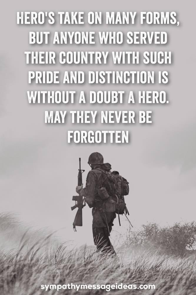 sympathy message for loss of soldier