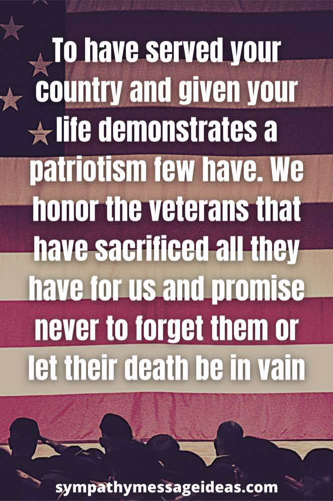Veterans condolence message