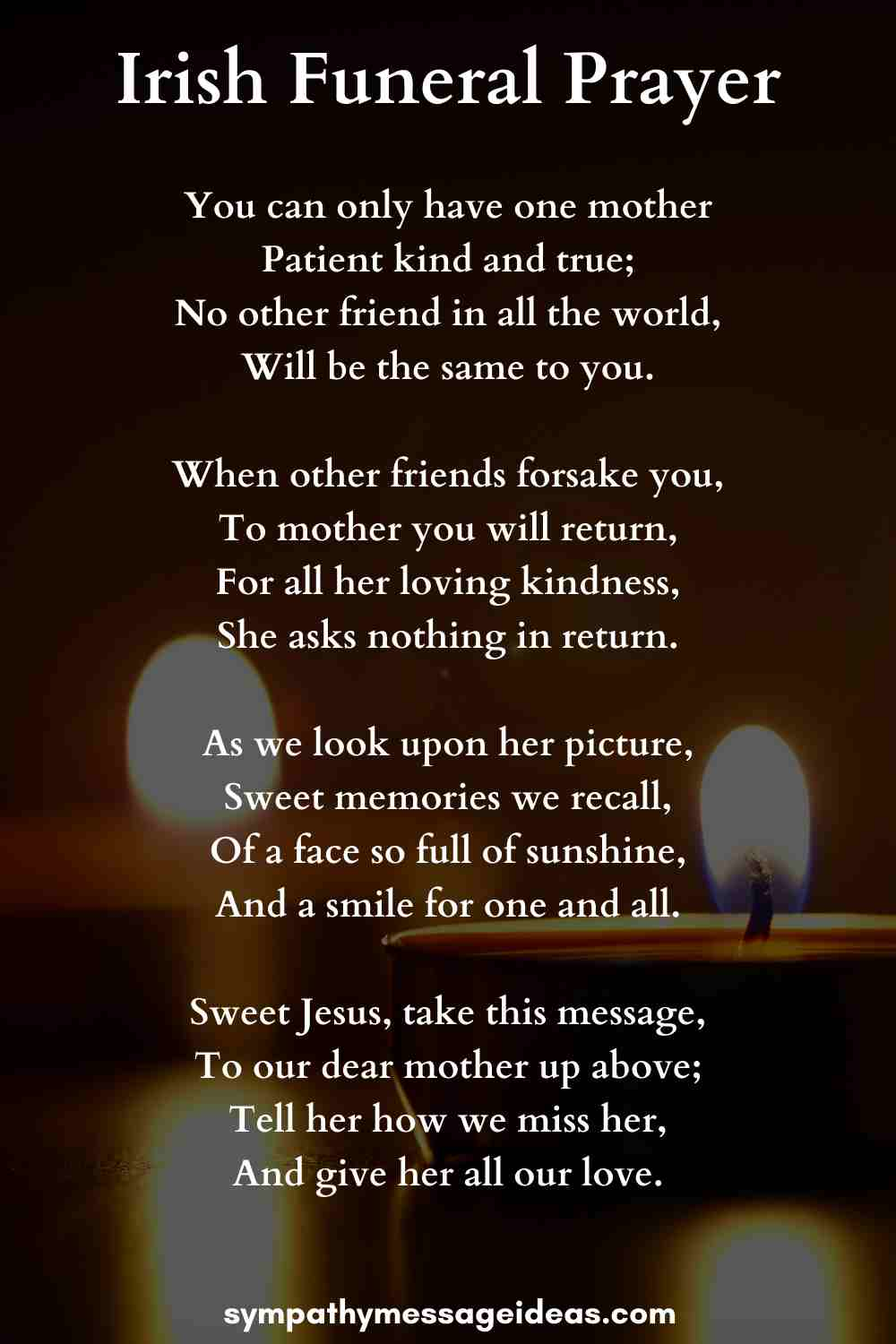Irish funeral prayer for a mother