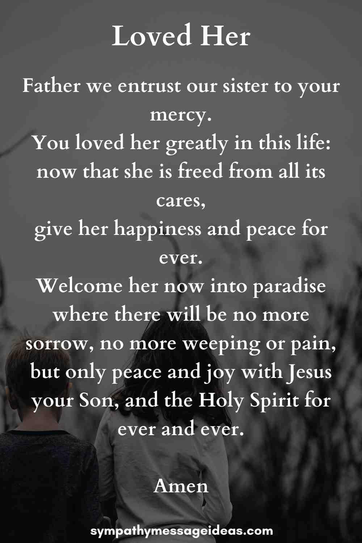 funeral prayer for sister