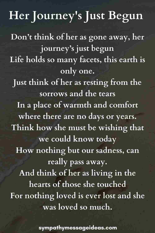 her journeys just begun funeral poem