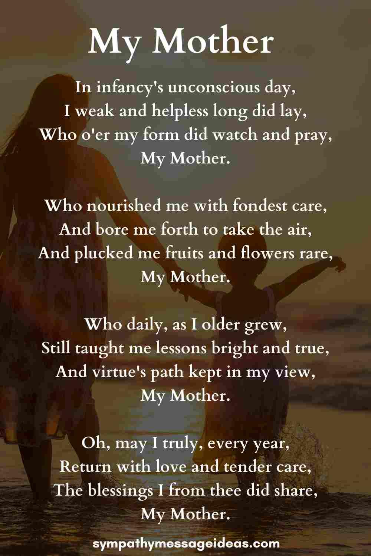 my mother sad poem