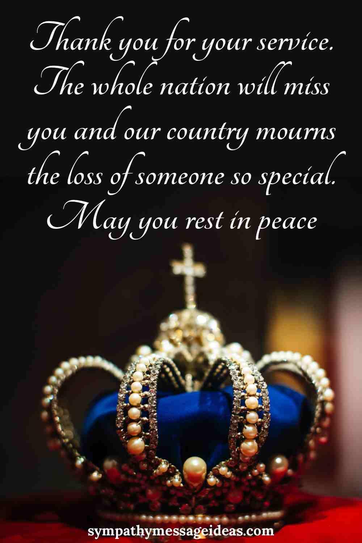 queen condolence message