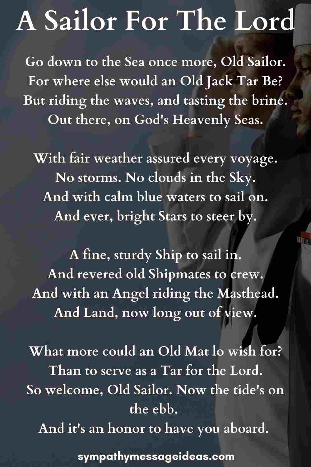 a sailor for the lord funeral poem