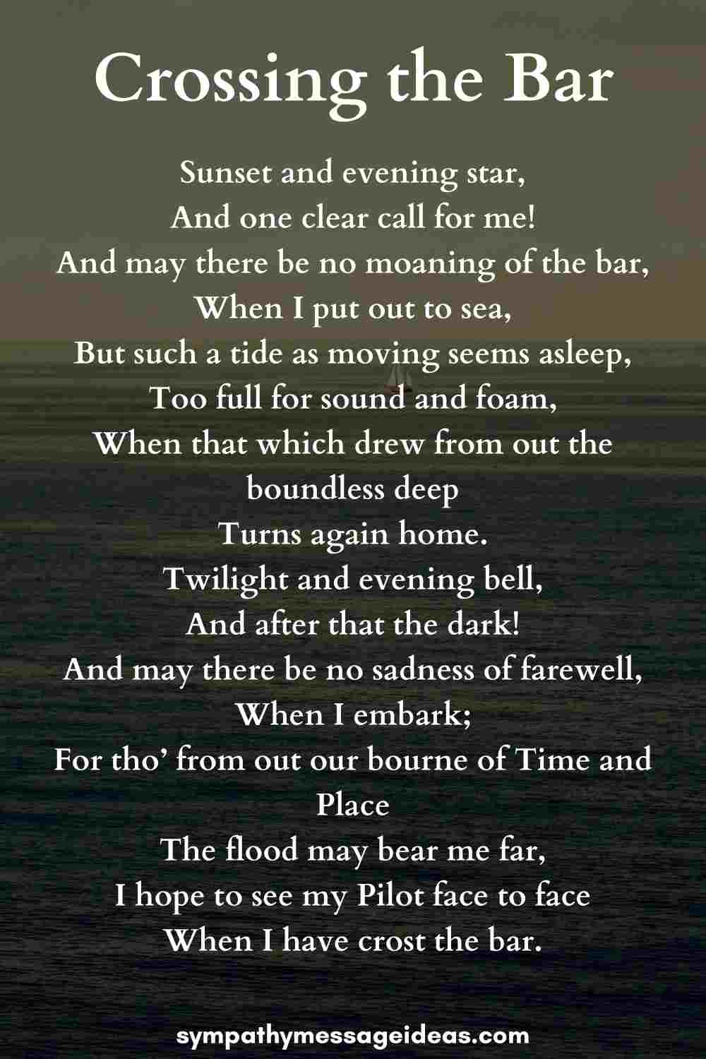 crossing the bar funeral poem for sailors