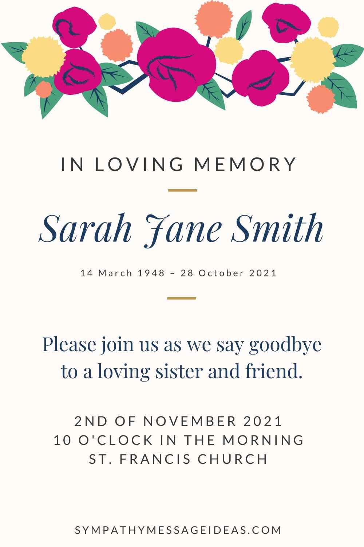 funeral invitation wording example