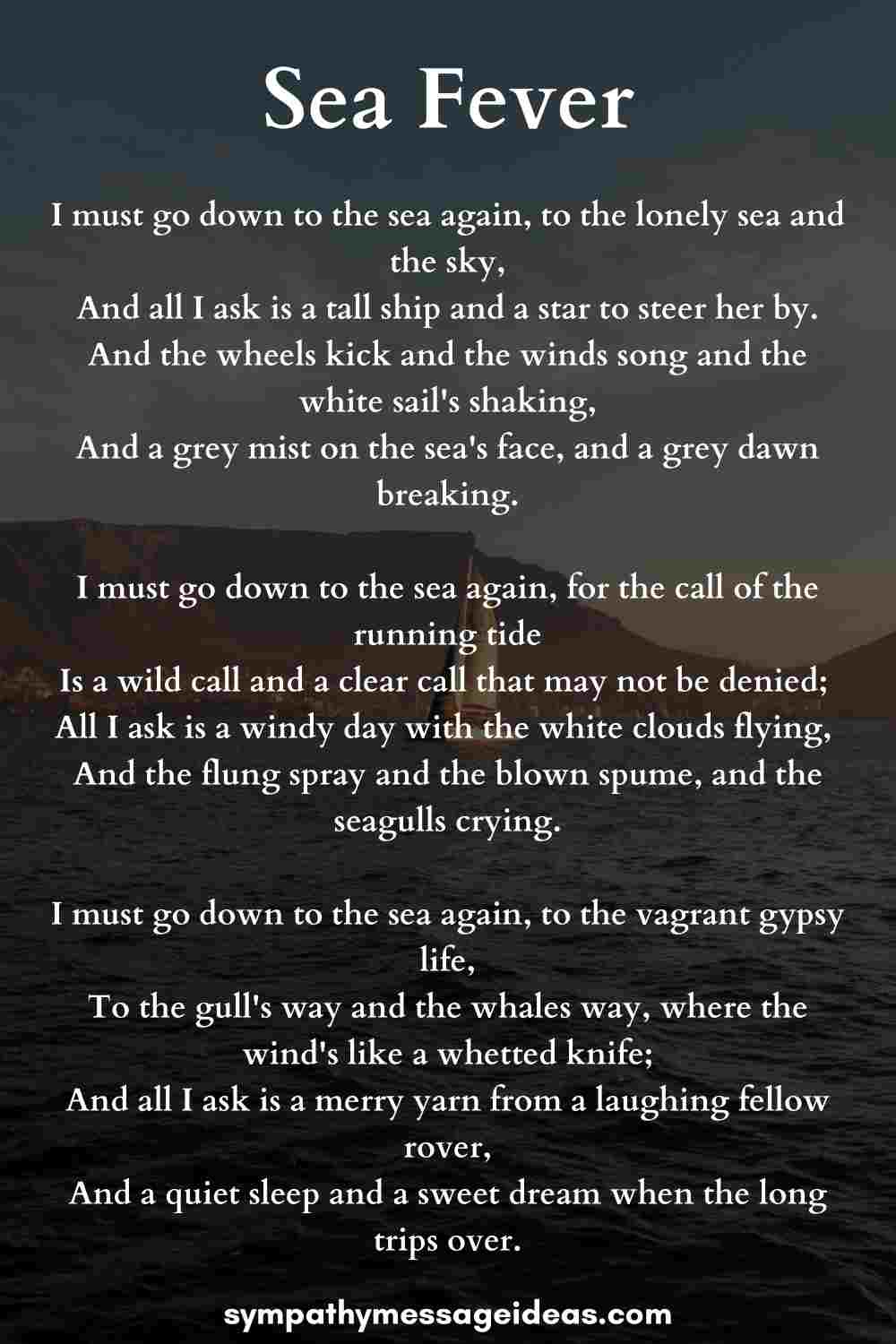 sea fever poem for sailors funeral