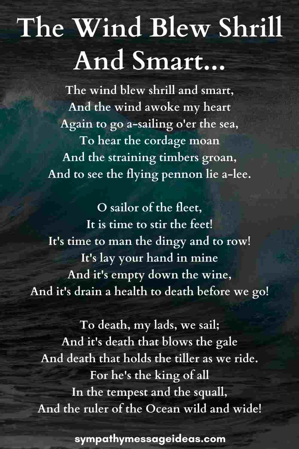 the wind blew shrill and smart sad poem