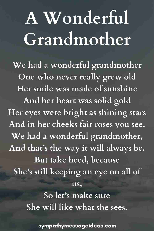 a wonderful grandmother memorial poem