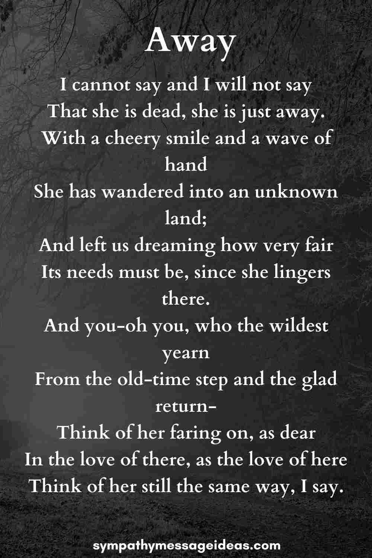 away funeral poem