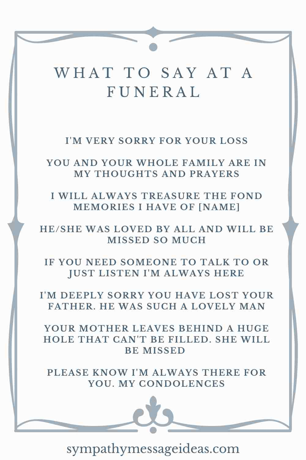 ideas for what to say at a funeral