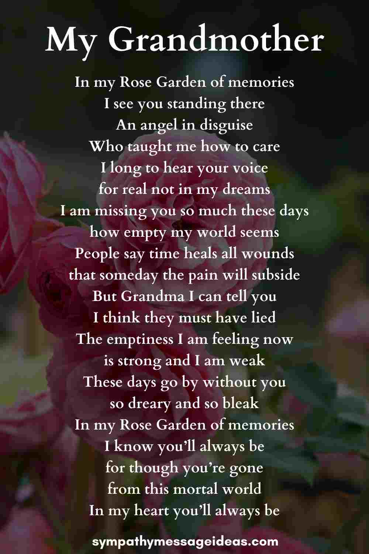 my grandmother funeral poem