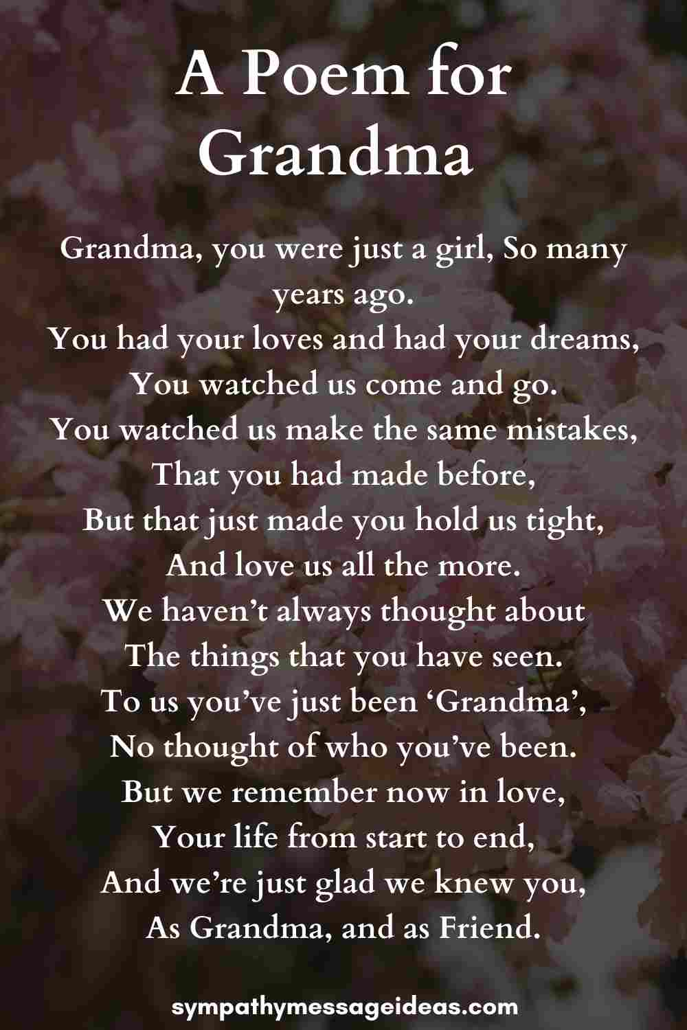 poem for grandmothers funeral