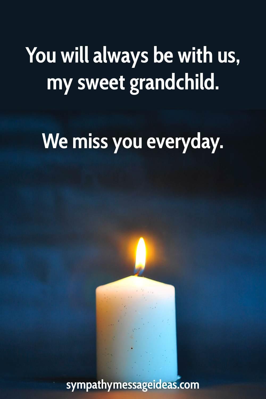 sympathy message for loss of a grandchild