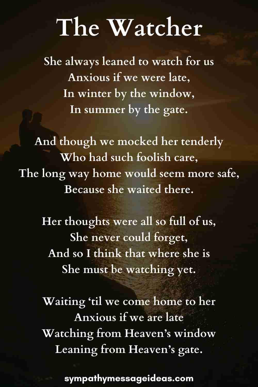 the watcher funeral poem grandma