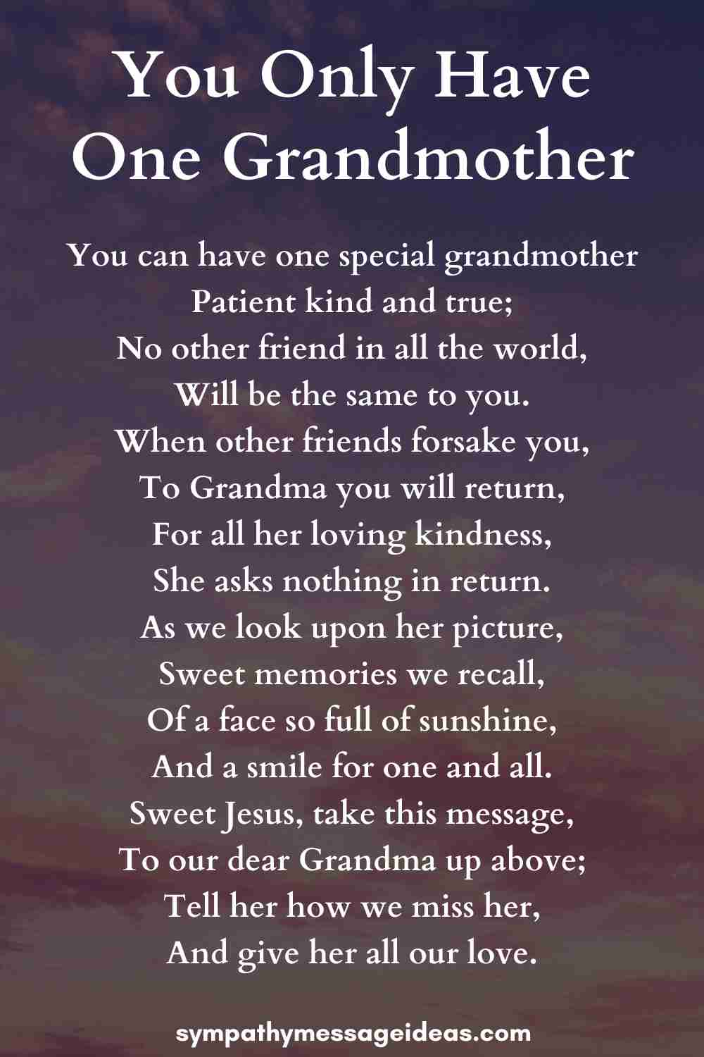 you only have one grandmother poem
