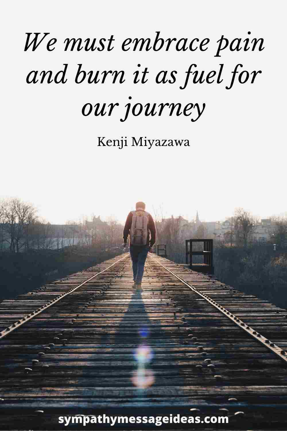 embrace pain for fuel for our journey quote