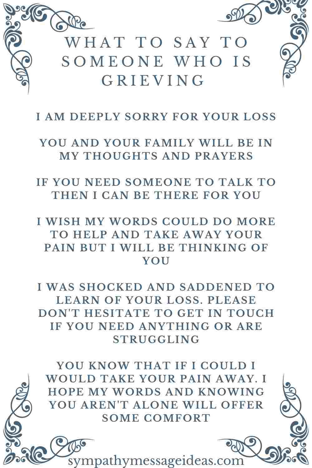 ideas for what to say to someone who is grieving